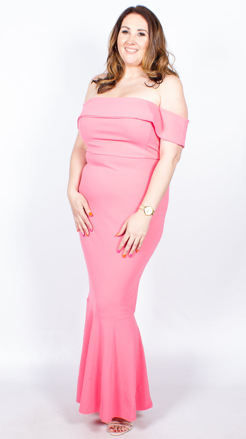 Anya Coral Bandeau Fishtail Maxi Dress