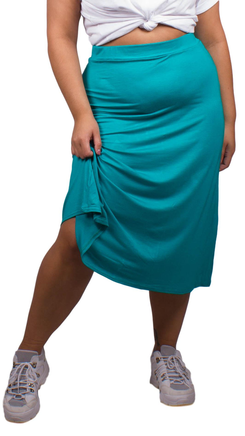Curvewow Green Midi Skirt