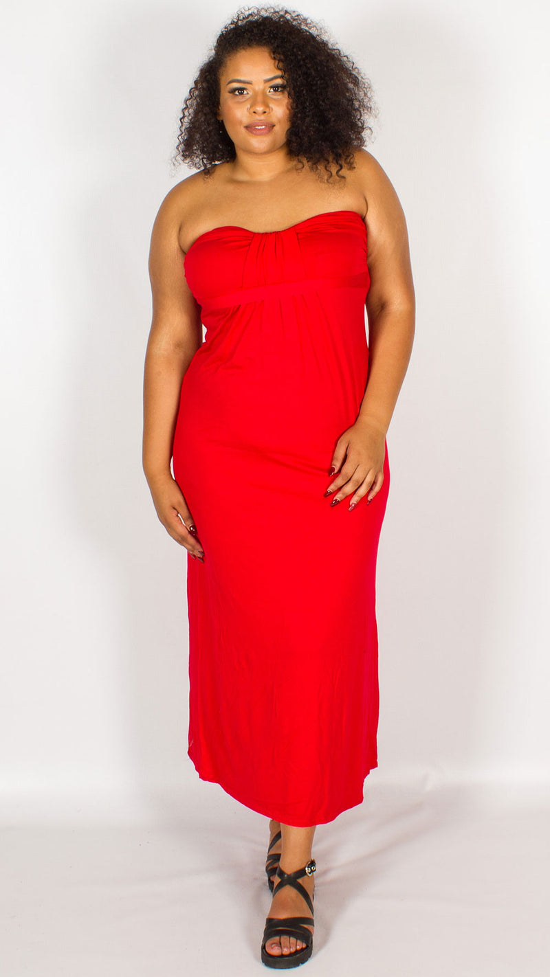 Curve Toga Maxi Racer Back Dress Red