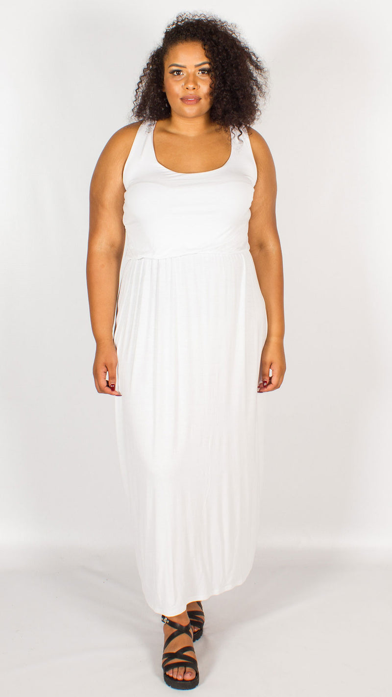 Curve Balloon Maxi Racer Back Dress White
