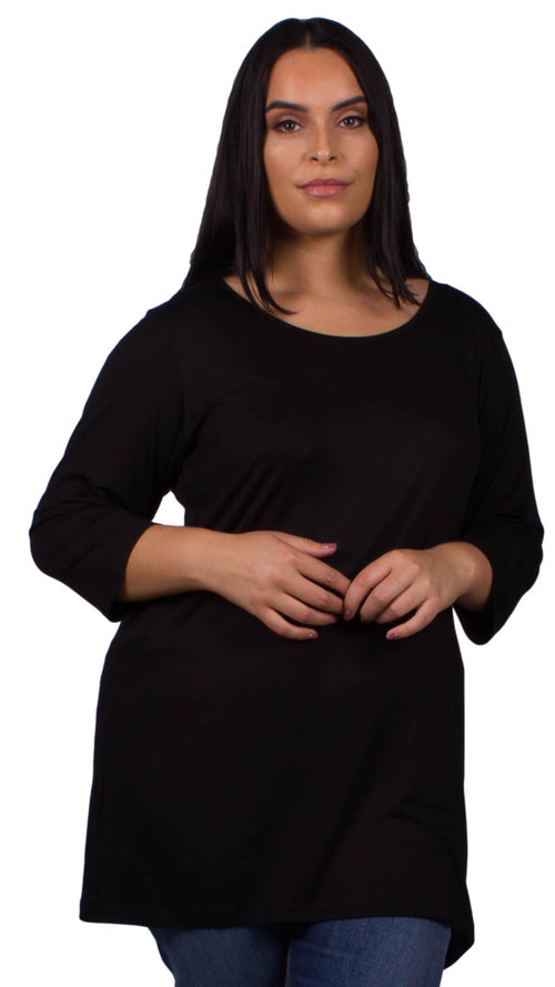 Beverly Scoop Neck 3/4 Sleeve Tunic Top Black