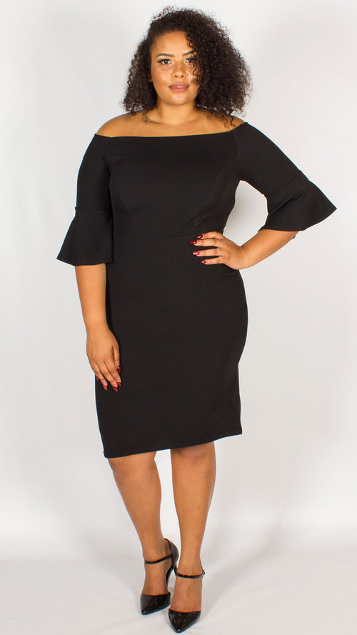 Toronto Off The Shoulder Trumpet Sleeve Midi Dress