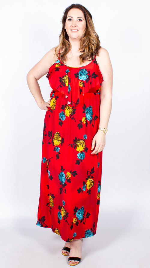 Immy Red Floral Print Maxi Dress