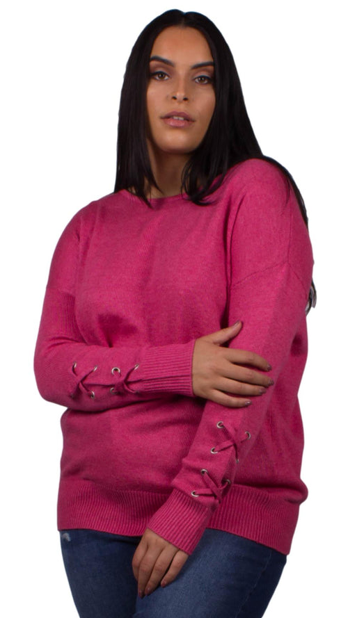 Zola Lattice Sleeve Knitted Jumper Pink