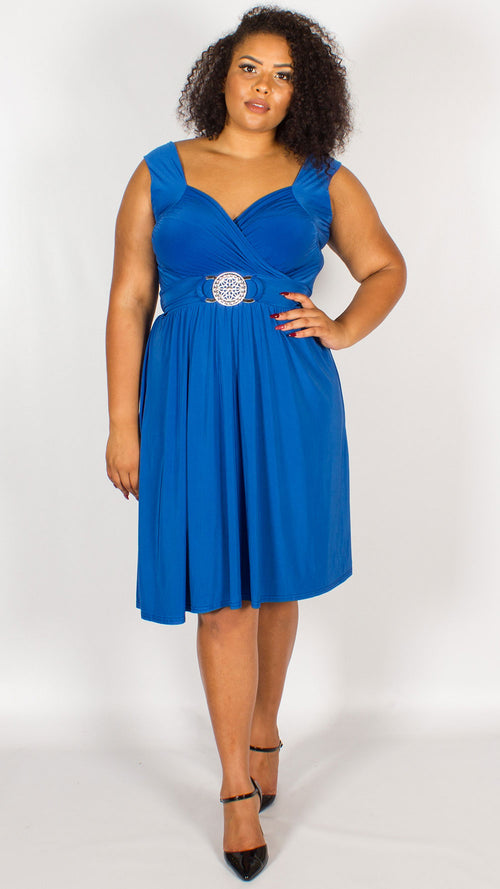 Cross Over Wrap Buckle Dress Royal Blue