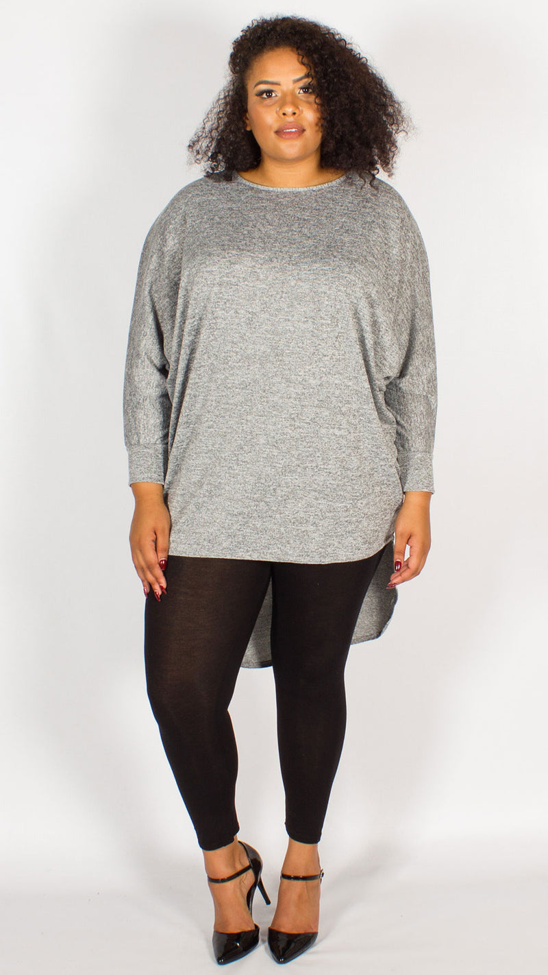 Isabella Grey Oversized Dipped Hem Top