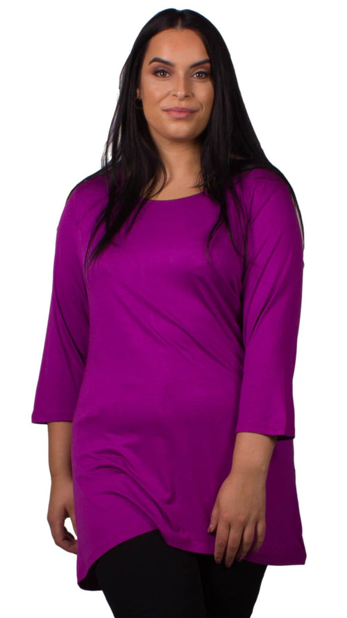 Beverly Scoop Neck 3/4 Sleeve Tunic Top Purple