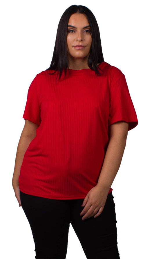 CurveWow Red Ribbed T-Shirt