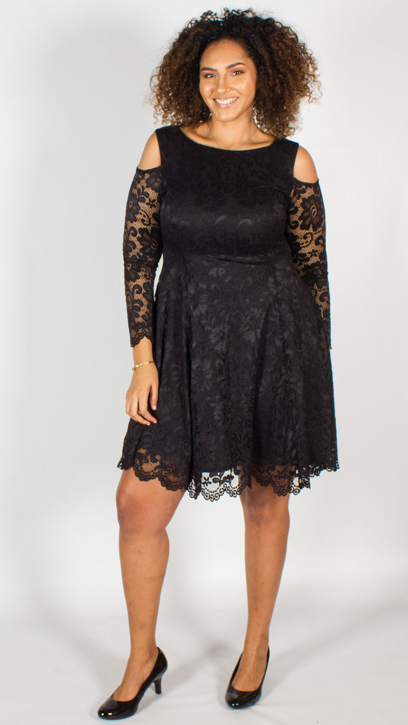 Napier Cold Shoulder Fit & Flare Lace Dress