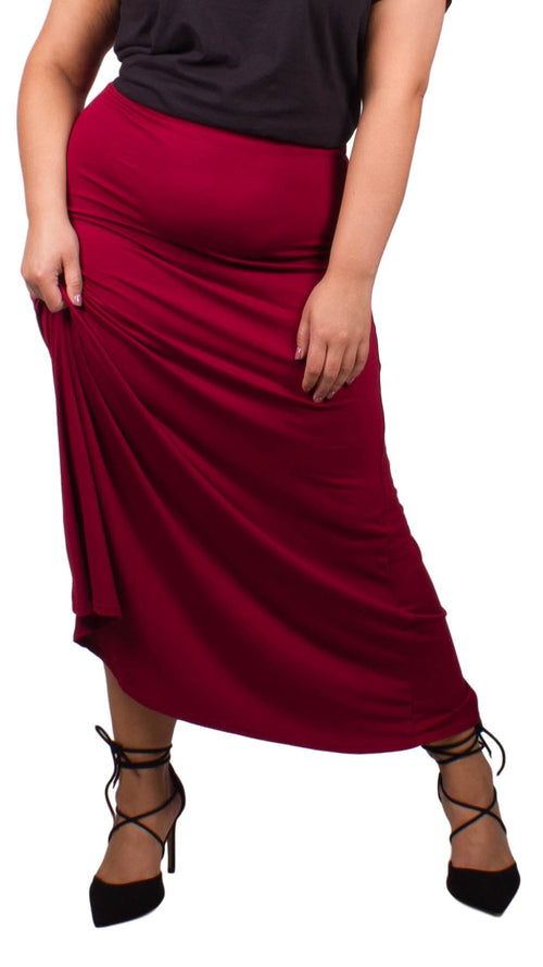 Curvewow Cranberry Maxi Skirt
