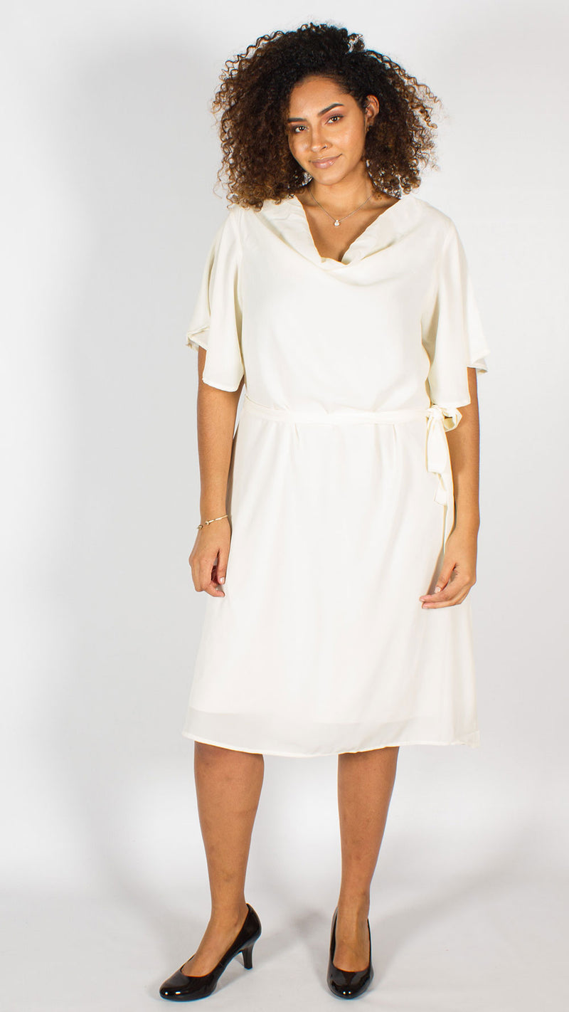 Santa Fe Cream Midi Dress with Belt