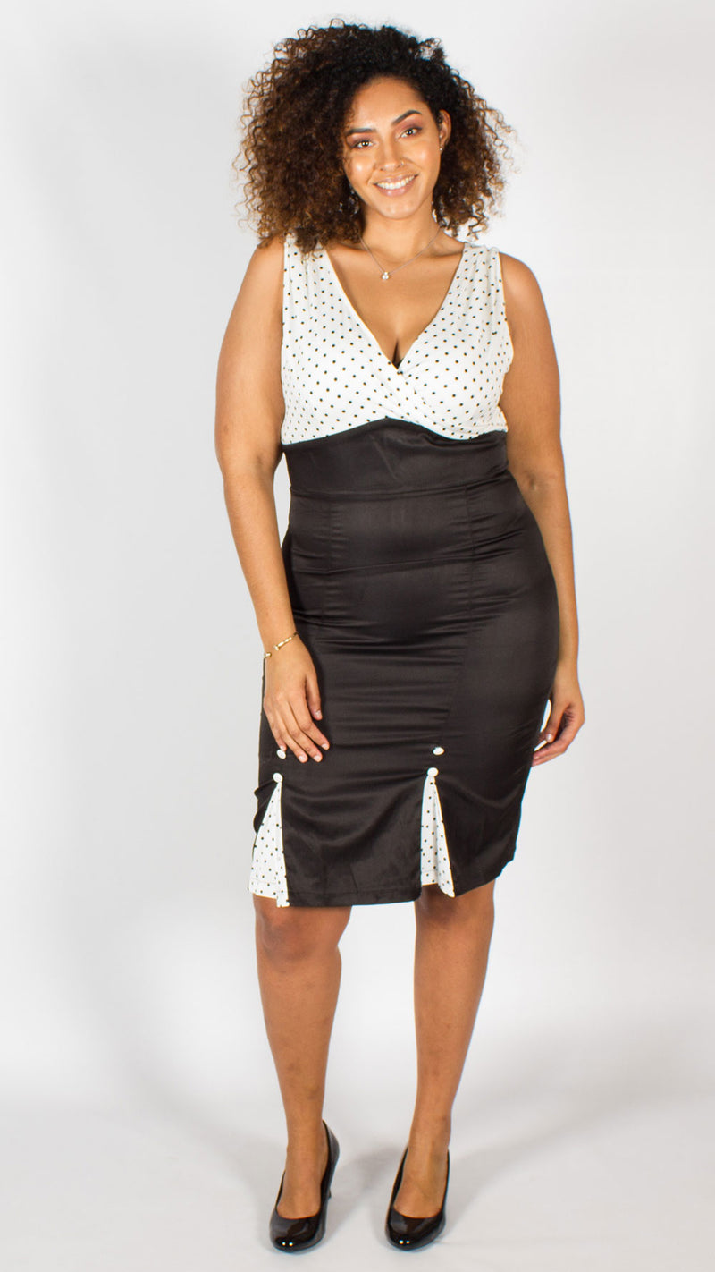 Kansas Black & White Polka Dot Pencil Dress