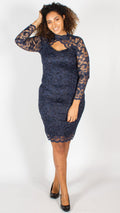 Rosario Navy Midi Dress with Long Sleeves & Scallop Detailing