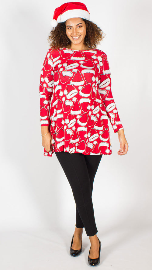 Christmas Santa Hat Print Swing Dress