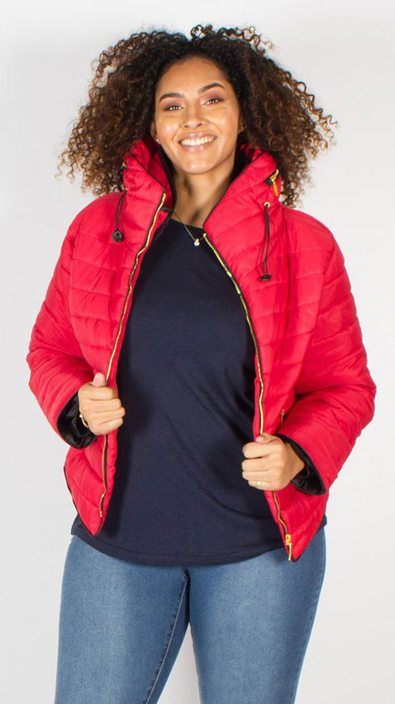 Palmetto Red Quilted Padded Puffer Bubble Jacket