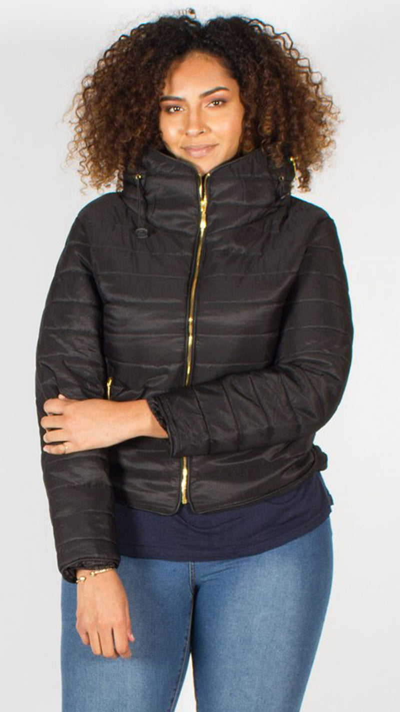Palmetto Black Quilted Padded Puffer Bubble Jacket