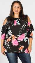 Sabrina Floral Print Ruffle Detail Cold Shoulder Top