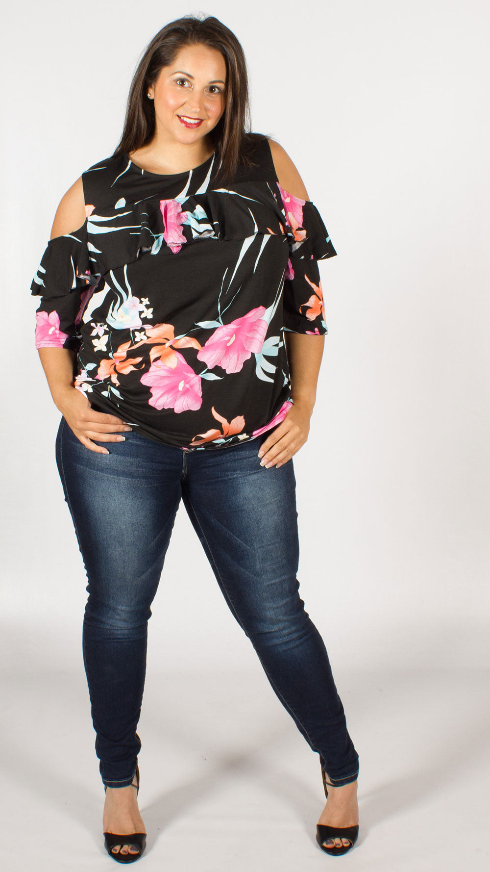 Sabrina Floral Print Ruffle Detail Cold Shoulder Top Curvewow Swing Sleeves