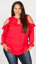 Montreal Strawberry Cold Shoulder Top with Frill Detail