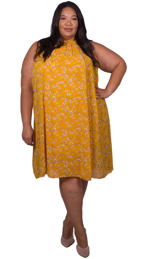 Emmie High Neck Swing Dress Mustard