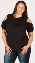 Black Cold Shoulder Mesh Frill Top