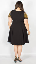 Medellin Cold Shoulder Sequin Sleeve Fit & Flare Dress