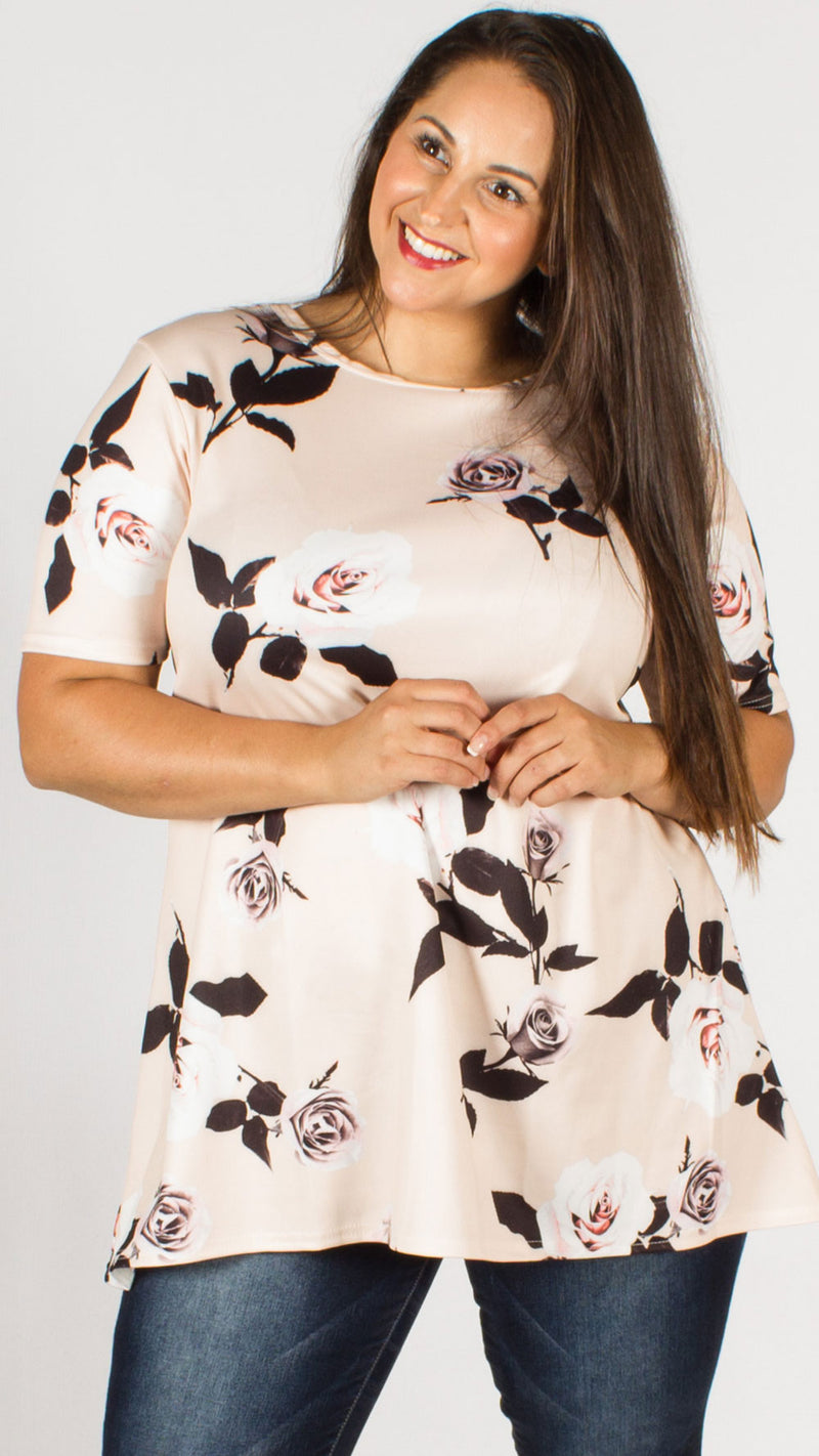 Caroline Pink Floral Short Sleeve Swing Top