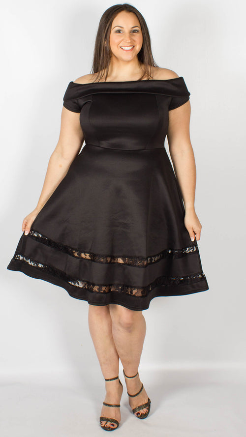 Dubai Off the Shoulder Fit and Flare Dress Black