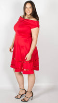 Dubai Off the Shoulder Fit and Flare Dress Red