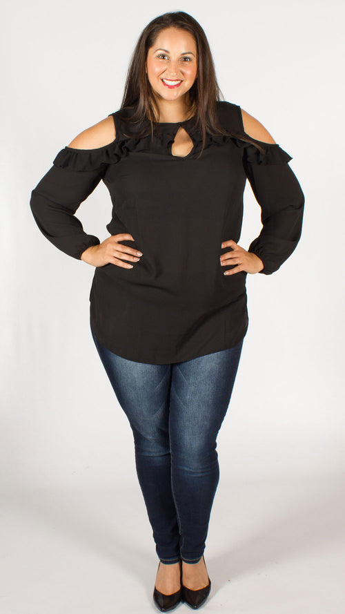 Montreal Black Cold Shoulder Top with Frill Detail