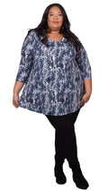 Adeline Blue Snake Print Swing Top