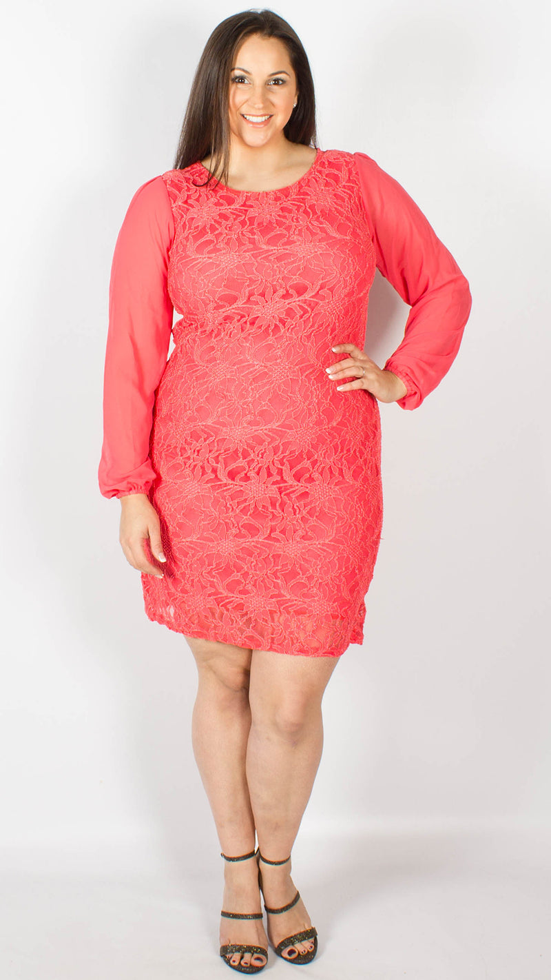 Antwerp Coral Chiffon Sleeve Lace Dress