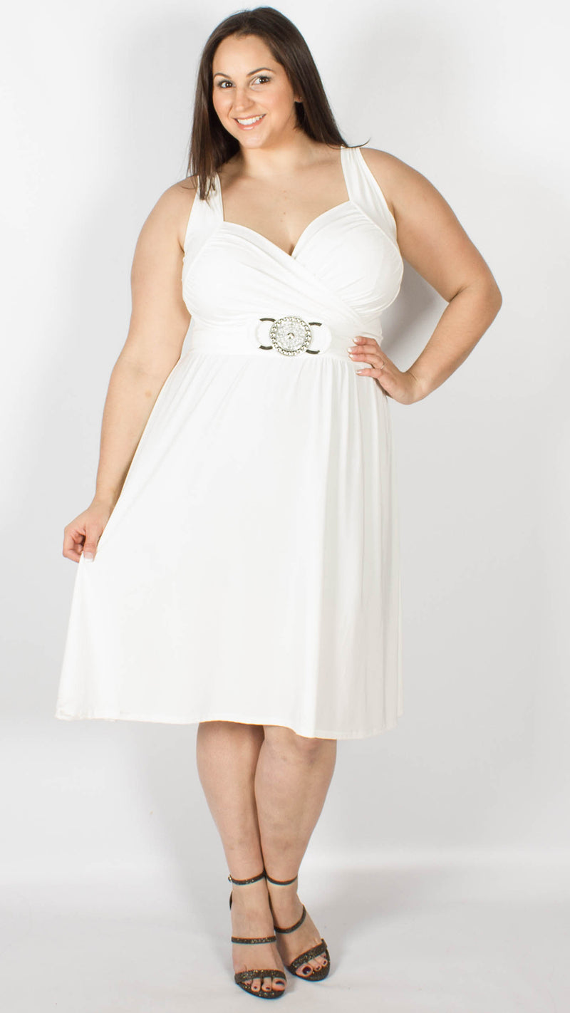 Cross Over Wrap Buckle Dress White
