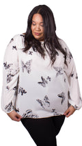 Kendra Butterfly Tie Front Blouse White