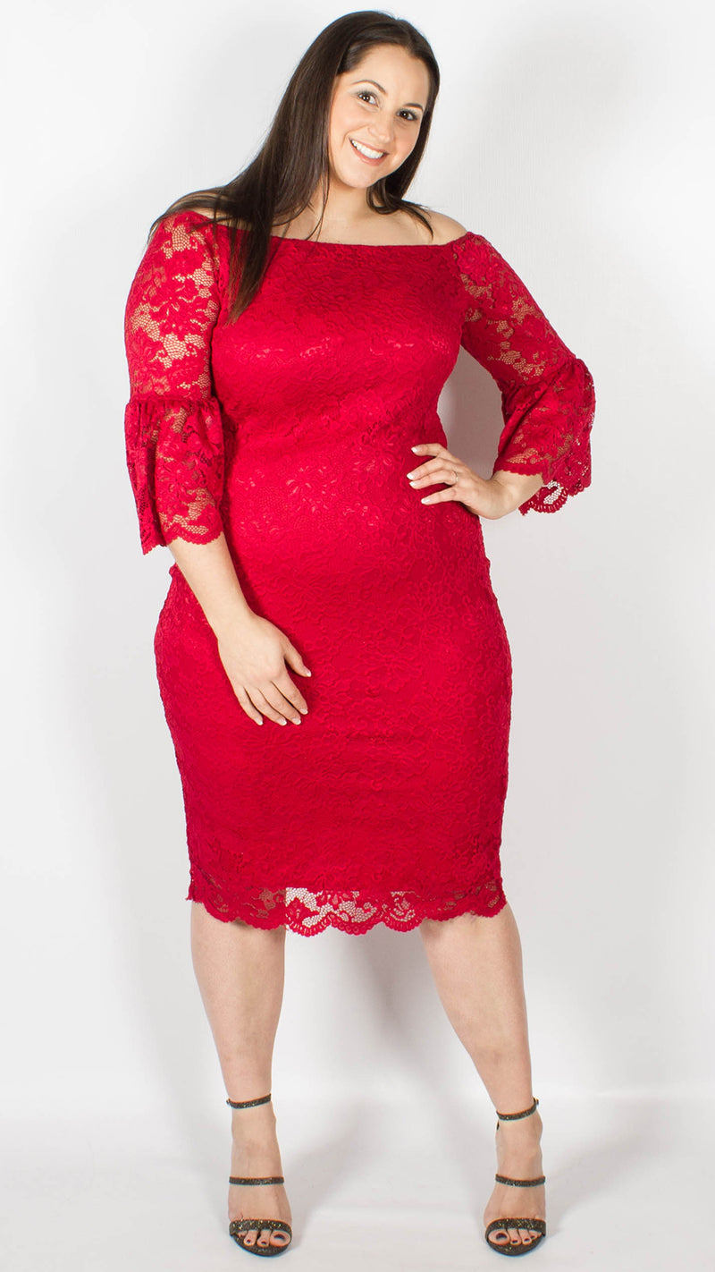 Perth Off the Shoulder Lace Midi Dress Red