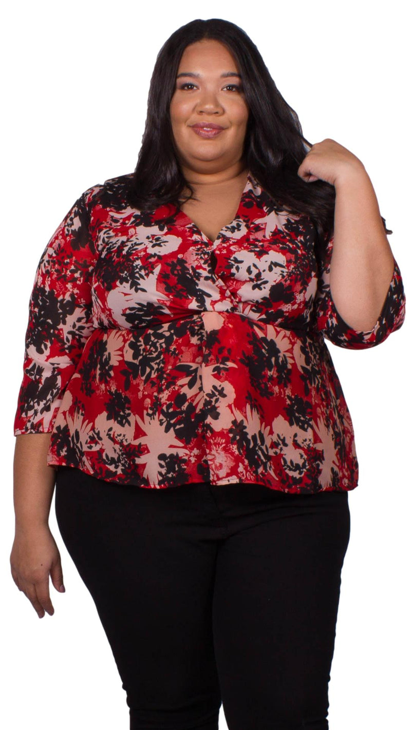 Johanna Floral Twist Front Top Red