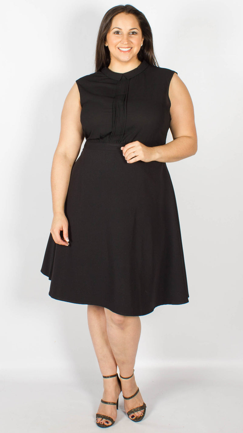 Lismore Black Pleated Skater Dress