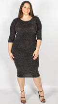 Cali Sparkle Bodycon 3/4 Sleeve Dress