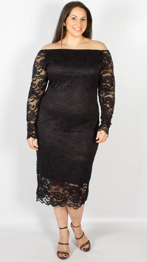 CurveWow Off the Shoulder Lace Midi Dress Black