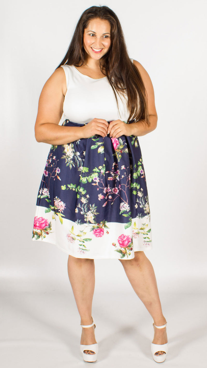 Lucy Purple/White Floral Skater Dress