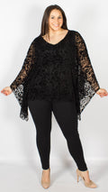 Danube Devore Jersey Lace Batwing Poncho