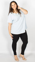Marseille Baby Blue Textured Dipped Hem Top