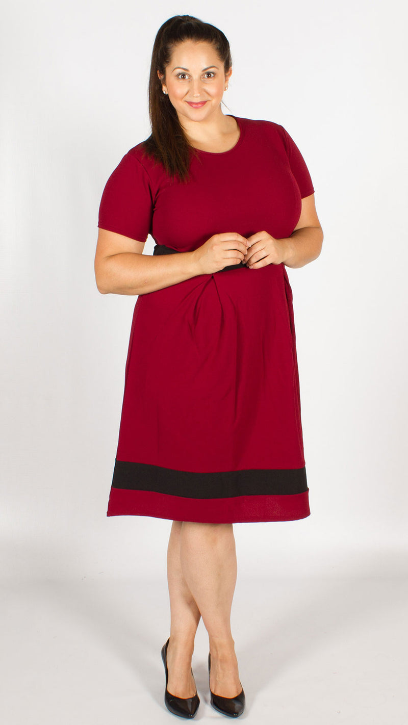 Kendall Wine Contrast A-Line Dress