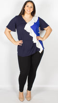Windsor Navy Blue Cream Frilled Top Blouse