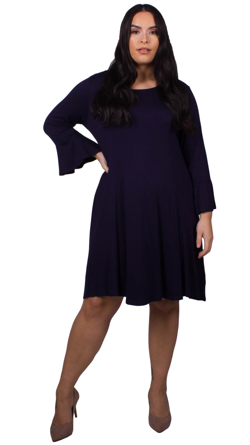 CurveWow Navy Fit & Flare Jersey Dress with Flute Sleeves