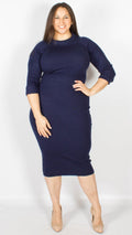 Hermosa Olive Navy Knitted Dress