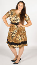 Animal Print Contrast A-Line Dress