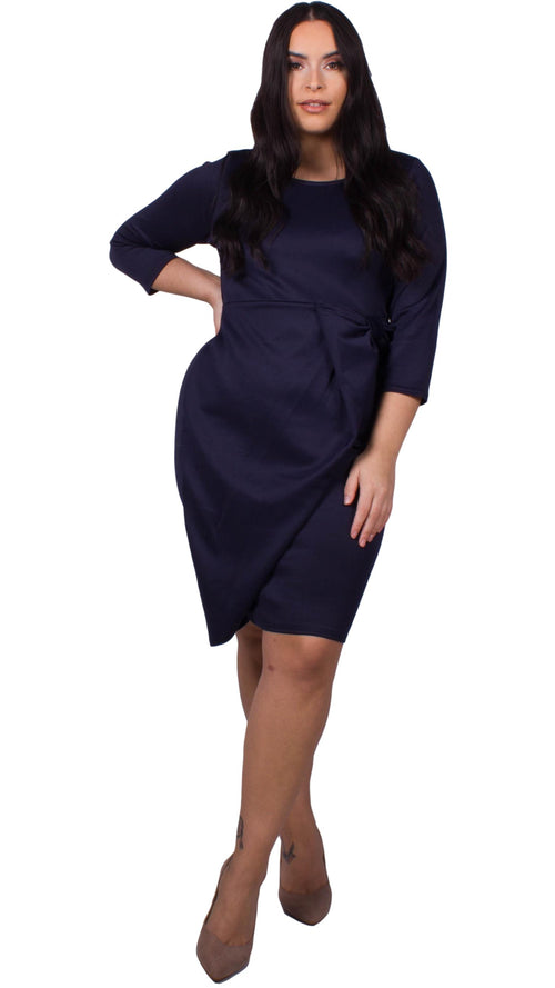 CurveWow Waterfall Peplum Midi Dress Navy