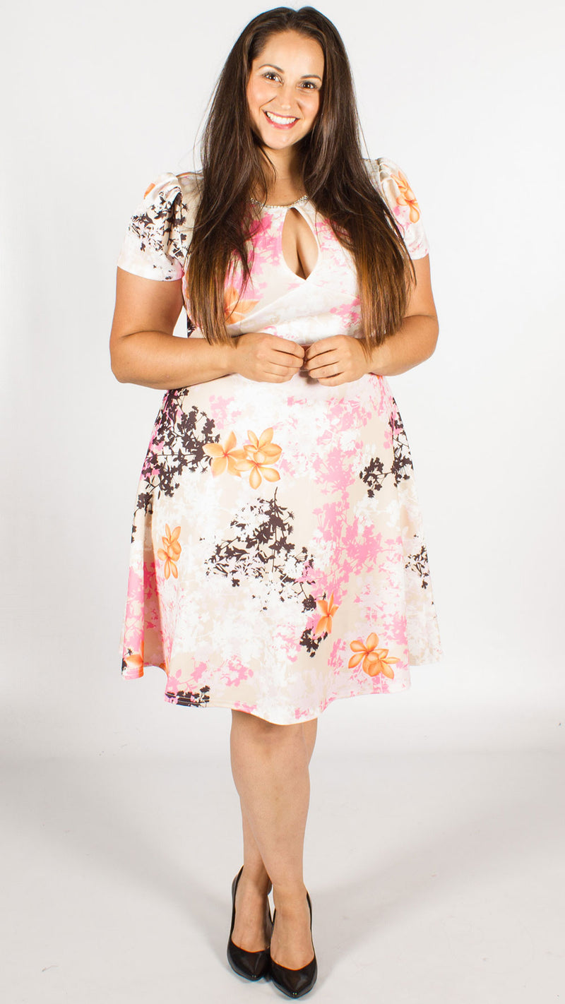 Cannes Diamante Floral Print Skater Dress