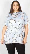 CurveWow Blue Floral Short Sleeve Swing Top